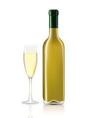 Wine bottle and wine glass on white