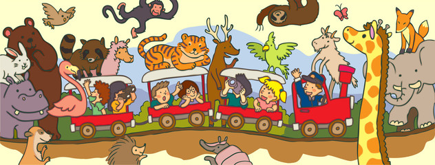 Kids travel through safari by train with black line drawing