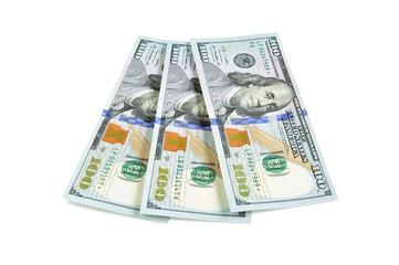 100 United States dollar bills on white background