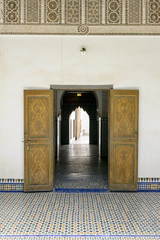 Door detail of El Bahia Palace in Marrakesh, Morocco