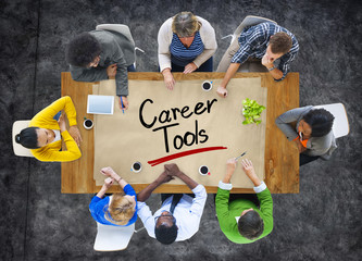Multiethnic Group with Career Tools Concept