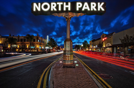 Long exposure light trails of North Park, San Diego, California