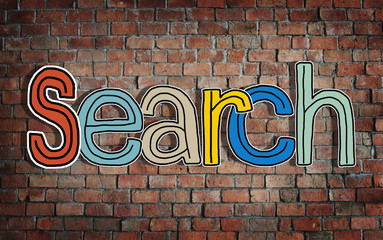 The Word Search on a Brick Wall Background