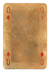 ancient  grunge playing card queen of diamonds background