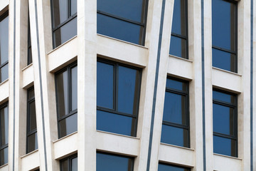 Modern architecture abstract fragment with white walls and windo