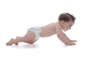 Happy Young Baby First Crawling