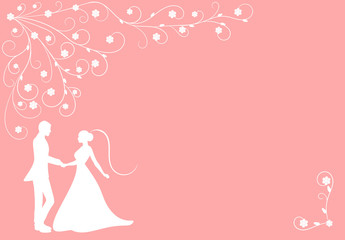 Wedding couple with flowers pink
