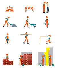Construction workers character business teamwork vector