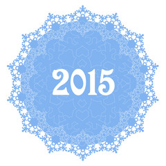 circular ornaments with winter snowflakes for new year 2015
