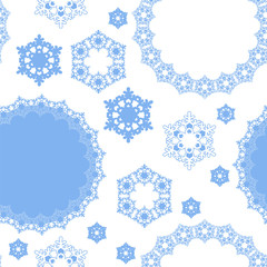 seamless pattern with winter snowflakes