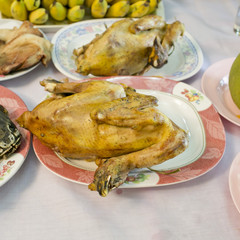 boiled chicken for make a sacrifice to gods (among the Chinese)