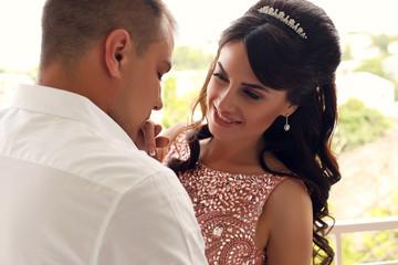 wedding photo of beautiful bride and groom