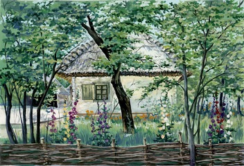 PAINTING - VILLAGE HOUSE