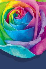 Rainbow rose card dark
