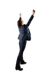 Sucessful businesswoman in suit cheering