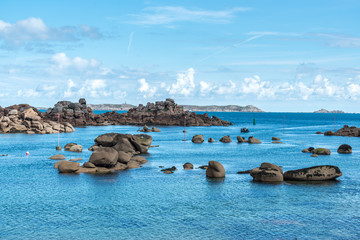 Boulders on the coast near Saint Guirec, at low tide (France)