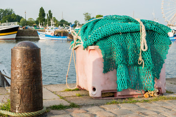 A big pile of fishing net in the harbor