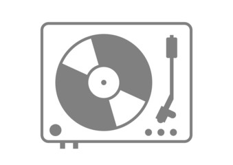 Grey gramophone icon on white background