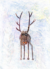 Childs drawing of a lonely deer