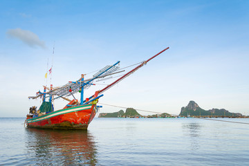 small fishing boat on the sea.