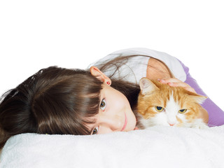 Funny caucasian child kid girl with red cat isolated
