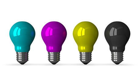 Cyan, magenta, yellow and black tungsten light bulbs, fron