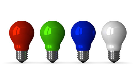 Red, green, blue and white tungsten light bulbs, front vie