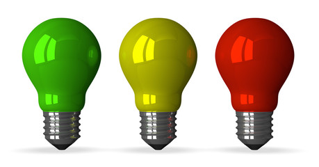 Green, yellow and red tungsten light bulbs, front view