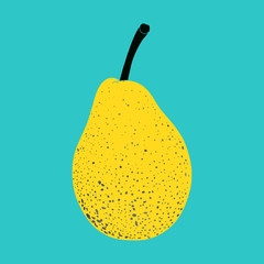 Cute cartoon pear. Hand drawn vector illustration