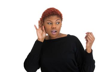 Nosy woman secretly listening conversation white background