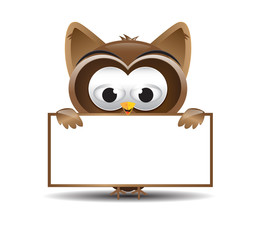 Owl holding a text box