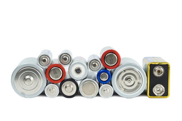 Variety of batteries viewed from the front, isolated