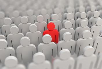 A red person in a crowd of people