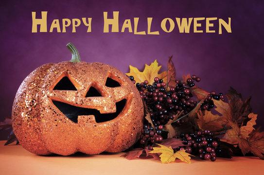 Happy Halloween orange glitter jack-o-lantern pumpkin