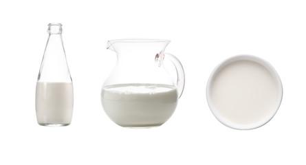 milk in bottle on white background