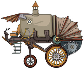 complex fantastic steam engine vehicle