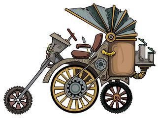 complex fantastic steam engine vehicle