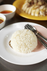 close up asian steam rice in white dish