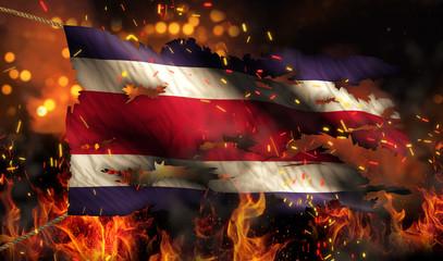 Costa Rica Burning Fire Flag War Conflict Night 3D
