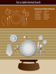 Vector of set a table formal lunch
