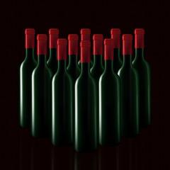 Bottles of wine in rows