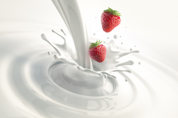 Foto auf Gartenposter Milch / Milchshake Erdbeeren mit Milchsplash