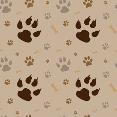 brown footprints seamless pattern.