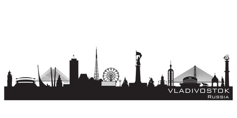 Vladivostok Russia city skyline Detailed silhouette