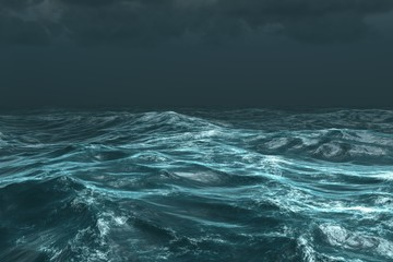 Rough stormy ocean under dark sky Wall mural