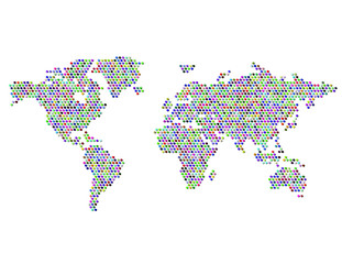 Dotted Map of the World Continents Random Color