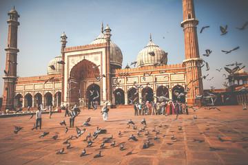 Autocollant pour porte Delhi Jama Masjid Mosque, old Delhi, India.