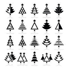 Christmas tree - various types vector icons set