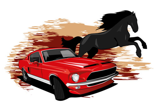 Mustang Car Horse drawing