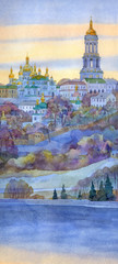 Watercolor cityscape. Monastery on steep bank of the river